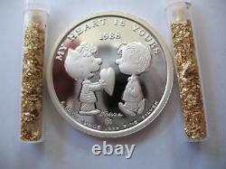 1-oz. 999 Silver Peanuts Valentines Day #639 Charlie Brown Snoopy Lucy Linus+gold
