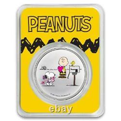 1 oz. Peanuts Snoopy & Charlie Brown VALENTINE. 999 silver COLORIZED PRE-SALE