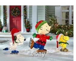2-D PEANUTS SNOOPY WOODSTOCK CHARLIE BROWN Ice Skating 3-PC. LIGHTED YARD DECOR