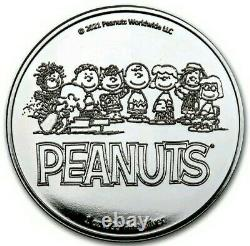 2021 1 Oz Proof Silver PEANUTS SNOOPY N CHARLIE BROWN VALENTINE Coin