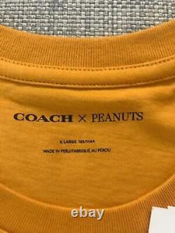 2021 New Coach Snoopy Peanut Charlie Brown T-Shirt Orange Size XL Limited