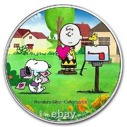 2021 USA Peanuts Charlie Brown & Snoopy Valentines! Silver Colorized Coin