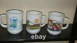 3 Fire King Anchor Hocking Snoopy Skating Milk Glass Mugs & Charlie Brown