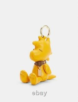 COACH x SNOOPY Charlie Brown WOODSTOCK Bird Leather Bag Charm Key Fob NWIn Hand
