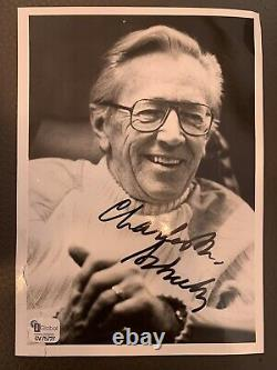 Charlie Brown Charles M. Schulz Hand Signed 5x7 B&W Photo COA snoopy peanuts