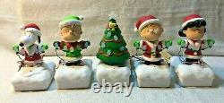 Charlie Brown Peanuts Gang Set of 5 Hallmark Christmas Light Show Lucy Snoopy