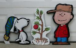Charlie Brown, Snoopy & Christmas Tree Lawn Art Yard Decor Set Free Shipping