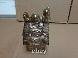 Charlie brown (SNOOPY) 1958 SILVER PLATED 6 vintage bank used ESTATE FIND! WOW
