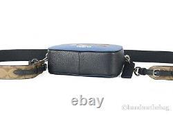 Coach X Peanuts Mini Serena Blue Pebbled Leather Snoopy & Friends Crossbody Bag
