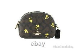 Coach X Peanuts Mini Serena Brown Black Signature Canvas Woodstock Crossbody Bag