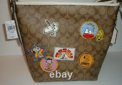Coach X Peanuts Val Tote Bag Varsity Patches C4112 NWT Snoopy Lucy Charlie Brown