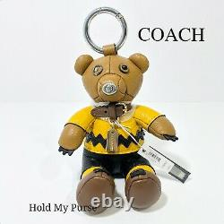 Coach X Snoopy Peanuts Charlie Brown Bear Keychain Bag or Backpack Charm NWT