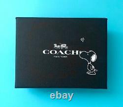 Coach x Peanuts Snoopy Mini Skinny ID Case leather Wallet Key Chain New black