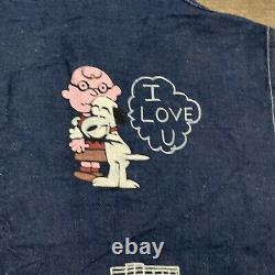 DENIM SHOP APRON Vtg 60s-70s Selvedge Blue Jean Workwear Charlie Brown Snoopy