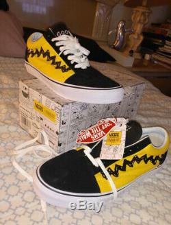 DS Vans x Peanuts Charlie Brown Good Grief Old Skool Shoes Sneakers Size 10.5