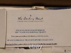 Danbury Mint PEANUTS-SNOOPY Christmas 5pc Train Figurine Charlie Brown set NOS