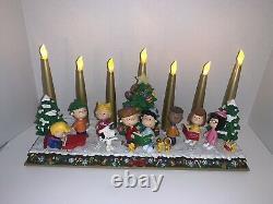 Danbury Mint Peanuts Christmas Candelabra Charlie Brown Snoopy Lights Up Rare