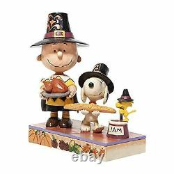 Enesco Jim Shore Peanuts Thanksgiving Charlie Brown Snoopy and Woodstock 5.75 F