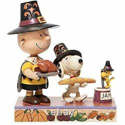 Enesco Jim Shore Peanuts Thanksgiving Charlie Brown and Snoopy Pilgrim Figurine