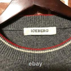Iceberg Charlie Brown Knit Big Logo Snoopy Gray Size M