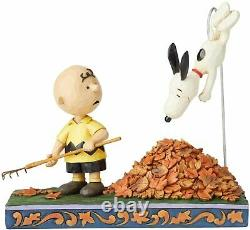 Jim Shore Peanuts Charlie Brown and Snoopy Jumping into Fall Leaves 6002773 NEW
