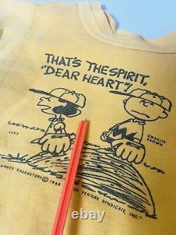 Kids 1960s vintage Peanuts Charlie Brown Snoopy Sweatshirt Norwich Mayo Spruce