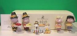 LENOX PEANUTS THANKSGIVING Charlie Brown Sally Snoopy Linus Lucy NEW in BOX wCOA