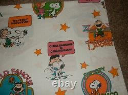 LN Vintage Peanuts Snoopy Disco Charlie Brown Twin Flat bed Sheet Fabric
