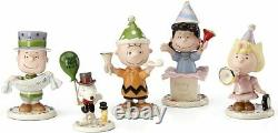 Lenox Peanuts Figurines Charlie Brown Snoopy Lucy Happy New Year NEW