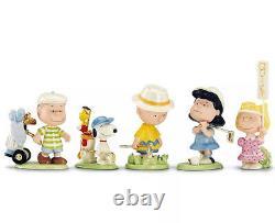Lenox Peanuts Golf Team 5 Piece Figurine Set Charlie Brown Snoopy & Pals New