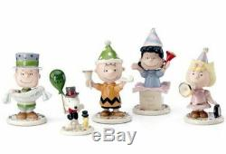 Lenox Peanuts Happy New Year Party 5 PC Figurine Set Charlie Brown Snoopy Lucy