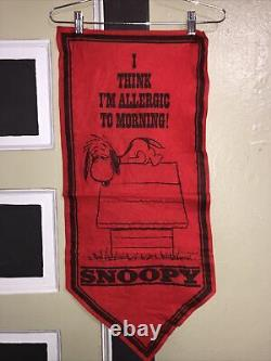 Lot 4 Vtg 1958 67 71 Snoopy Charlie Brown 32x14 1/4 Felt Banners