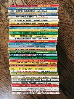 Lot of 32 Vintage Charles Schulz Peanuts Charlie Brown Snoopy Books by Fawcett