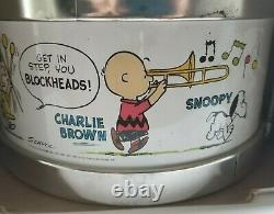 New In Box Peanuts Marching Band Drum Charlie Brown Snoopy Vintage 1969 Chein