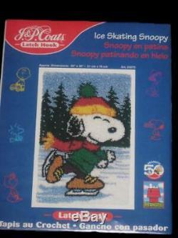 Nib Peanuts Ice Skating Snoopy Latch Hook Kit + Finished Skating Charlie Brown