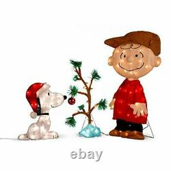 Outdoor Charlie Brown Snoopy The Lonely Tree Lighted Christmas Yard Ard Decor