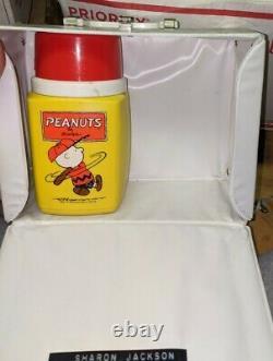 Peanuts 1973 white vinyl lunchbox Snoopy Charlie Brown baseball Linus VINTAGE