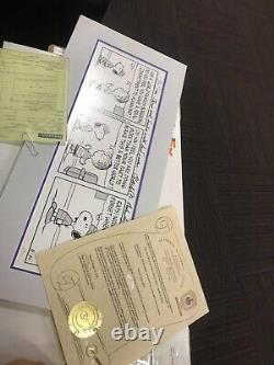 Peanuts Comic strip Autographed by Charles M SCHULZ CHARLIE BROWN Snoopy w / COA