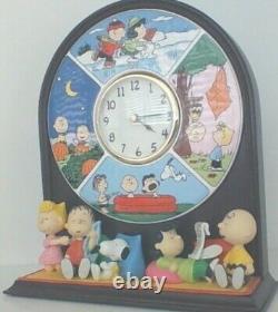 Peanuts Snoopy Charlie Brown Four Seasons Danbury Mint Ceramic Clock HTF