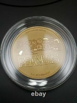 Peanuts Snoopy and Charlie Brown Valentine 1 oz Gold Round