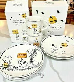 Pottery Barn PeanutsSnoopyCharlie Brown Halloween Plates(4) & Mugs(2)NIB