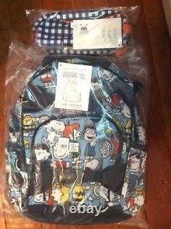 Pottery barn kid Peanuts SNOOPY BACKPACK + PENCIL zip CASE BAG Charlie Brown dog