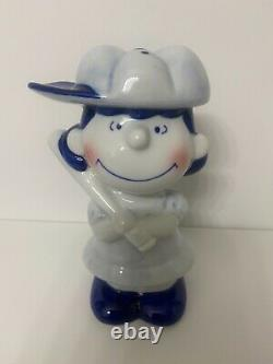 RARE VINTAGE 3 Piece Ceramic Baseball Set Snoopy, Charlie Brown, Lucy MINT BOX