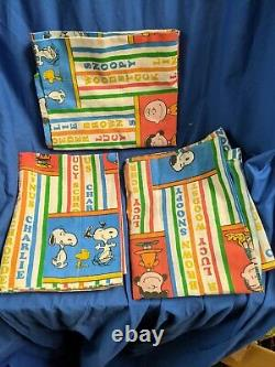 RARE VTG PEANUTS PILLOW CASES withCharacter Names SNOOPY Charlie Brown VGC HTF