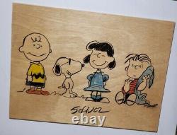 Snoopy Charlie Brown Genuine Original Charles Schulz signed artwork PEANUTS