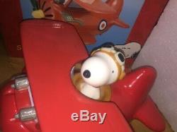 Snoopy Flying Ace Cookie Jar Airplane Peanuts Charlie Brown Woodstock Red Baron