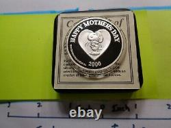 Snoopy Woodstock Peanuts Charlie Brown Happy Mother's Day 999 Silver Coin Coa