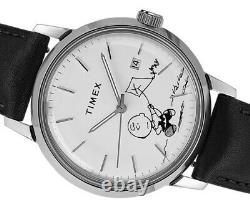 Timex Marlin Automatic Herrenuhr Charlie Brown Peanuts Snoopy Lederband schwarz