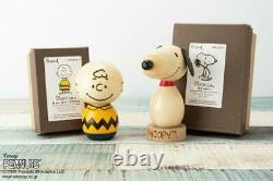 Usaburo Kokeshi Peanut Charlie brown & Snoopy 2 set Wood Doll Traditional Japan