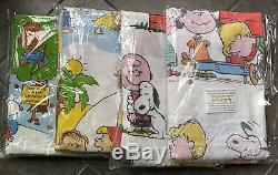 VTG Lot Of 4 MINT 70s Peanuts 66 x 96 Flat Sheet Snoopy Goes West Charlie Brown